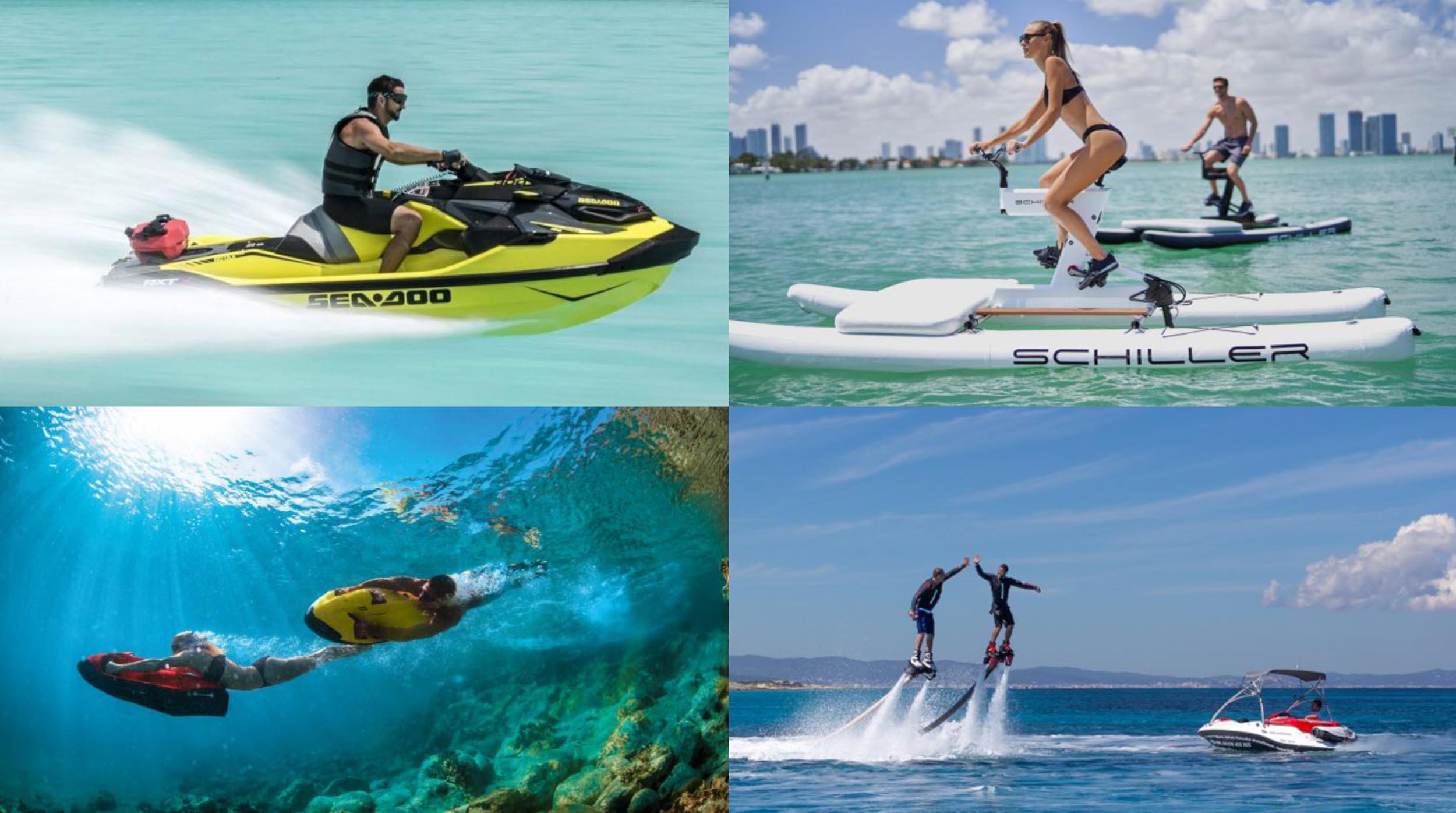 Varios deportes acuáticos que practicar en Ibiza: Flyboard, propulsores acuáticos Seabob, bicis acuáticas Schiller, paddlesurf gigante desde nuestras embarcaciones De Antonio Yachts.
